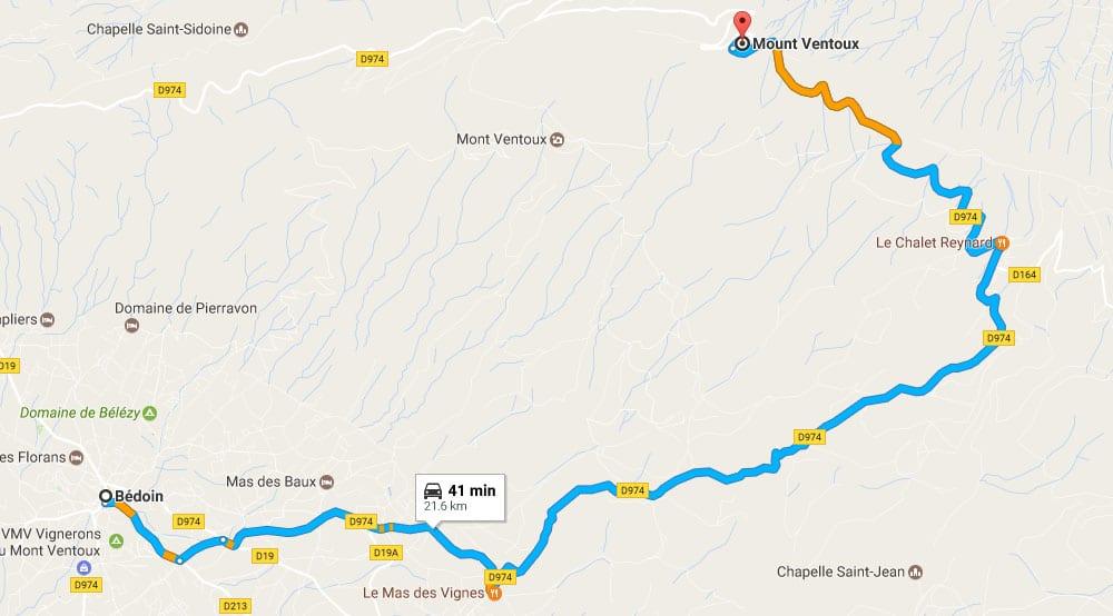 Bédoin to Mont Ventoux drive - Road map