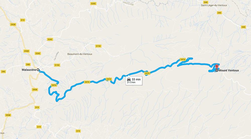 Malaucène to Mont Ventoux drive - Road map