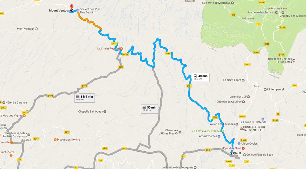 Sault to Mont Ventoux drive - Road map