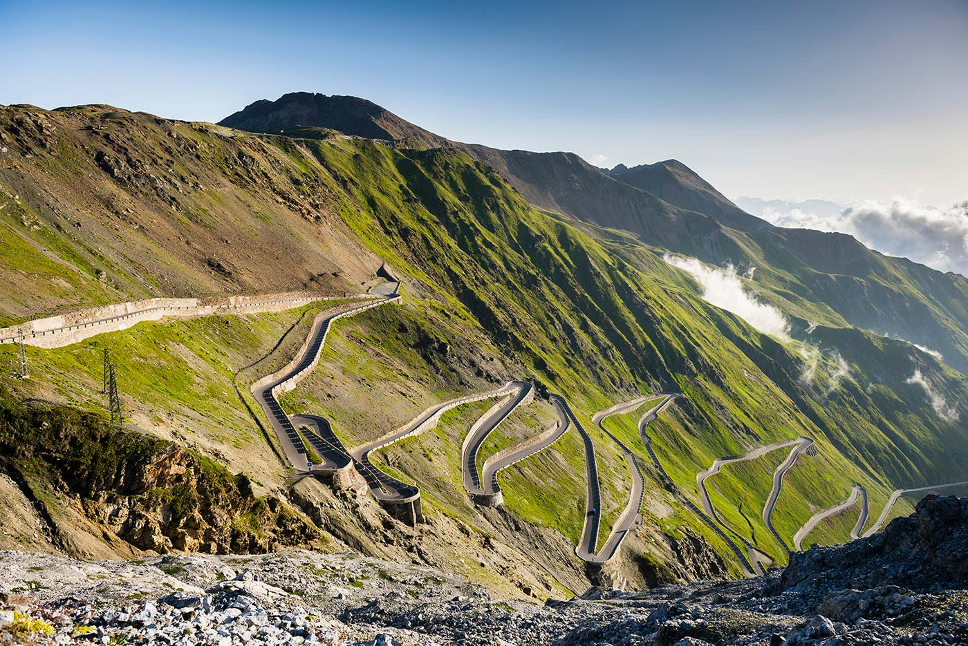 Stelvio Pass mountain pass and driving road in Italy