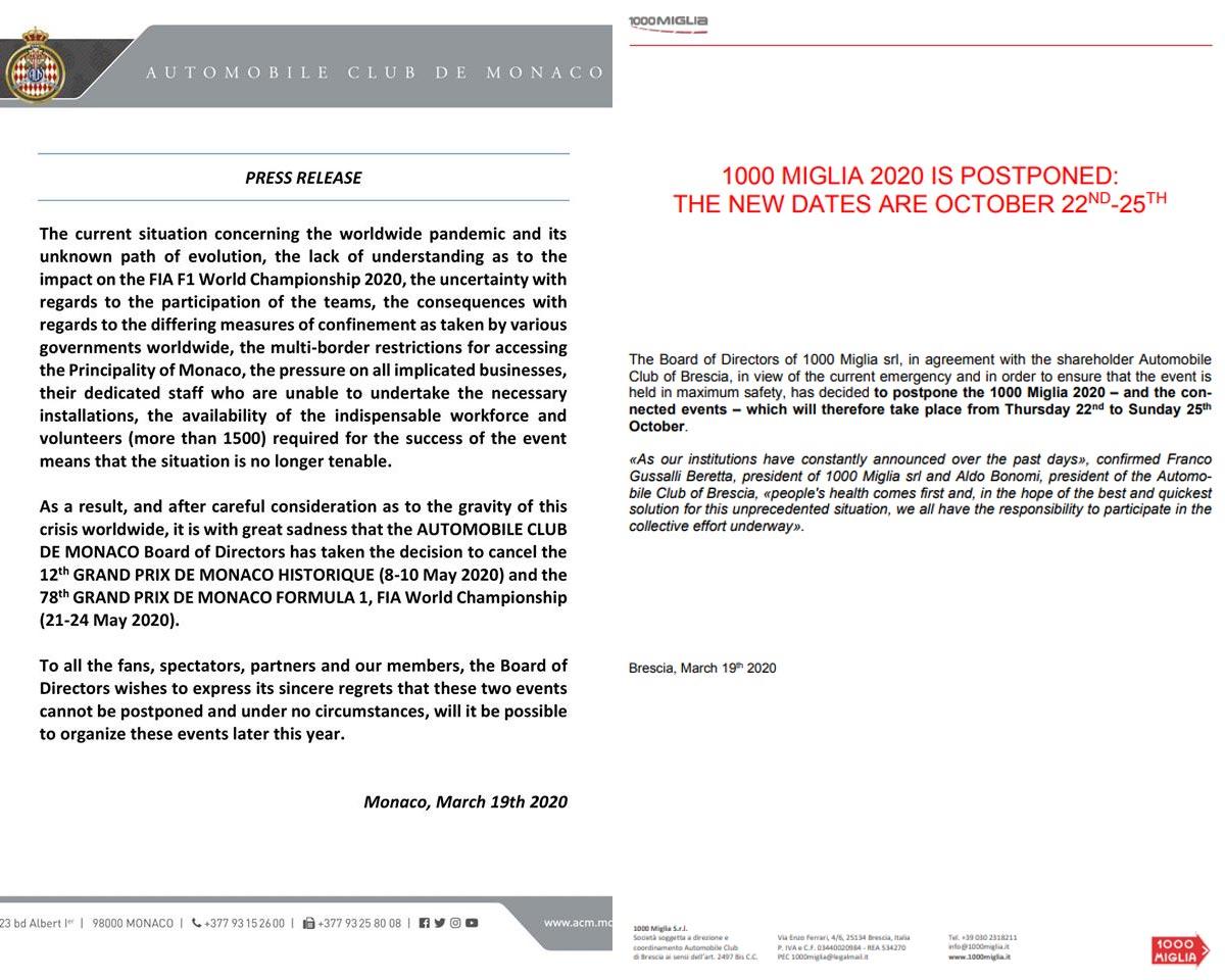 Postponed or cancelled - 2020 Monaco F1 Grand Prix and 2020 1000 Miglia / Mille Miglia