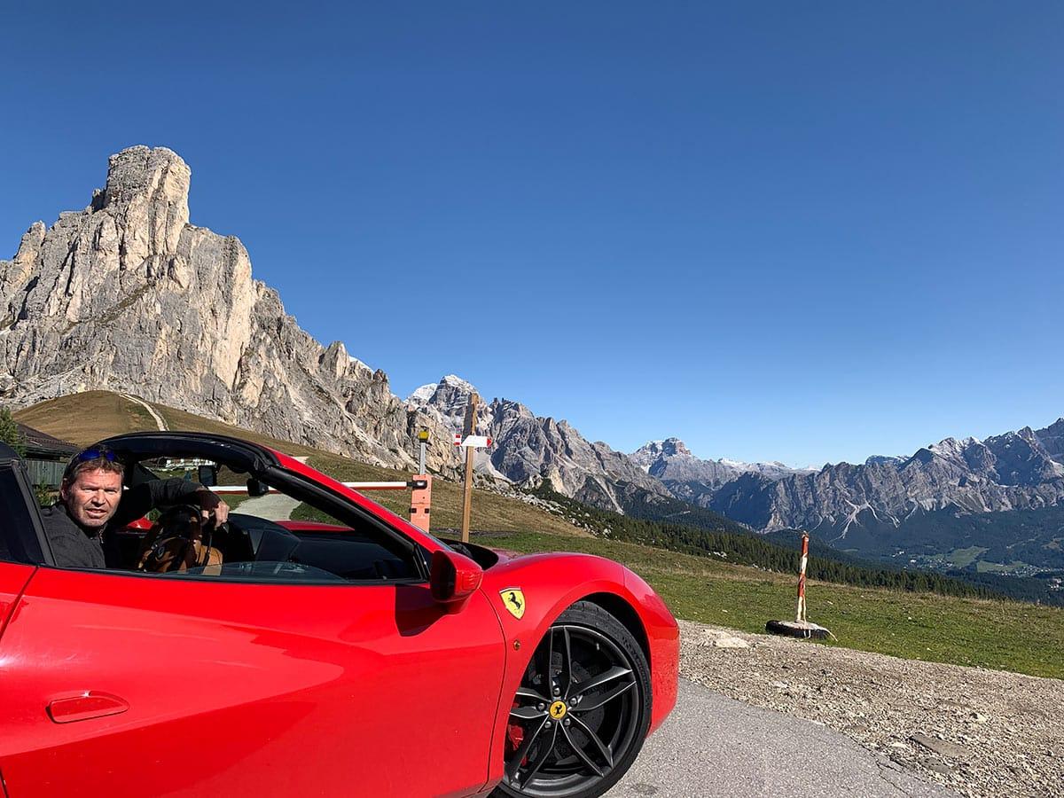 Ferrari drive in the Dolomites
