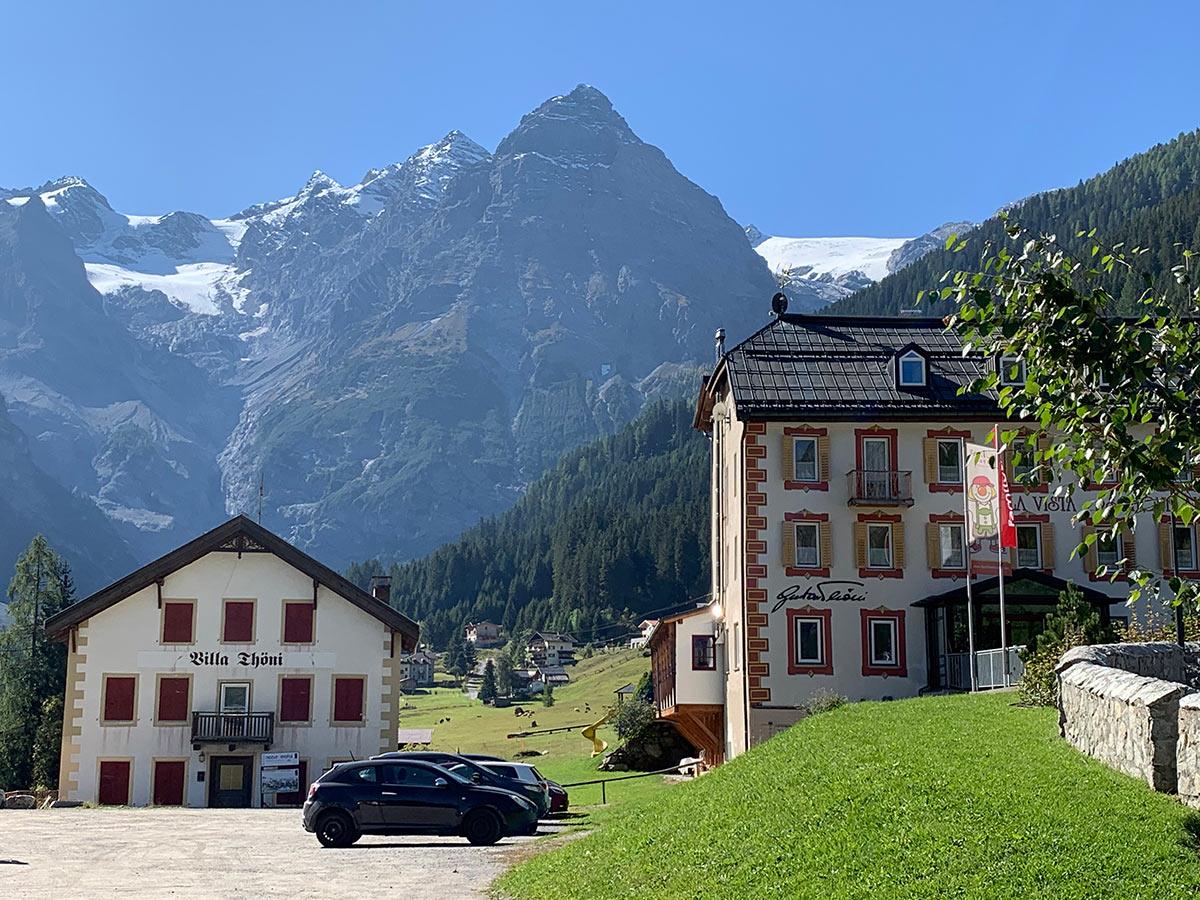 View to Stelvio Pass in Italy